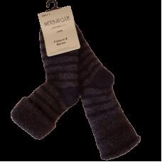 Baby Possum Merino Socks - Charcoal & Black Stripe