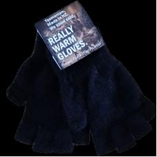 Fingerless Possum Fur & Merino Wool Gloves - Black