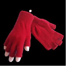 Fingerless Possum Fur & Merino Wool Gloves - Red.
