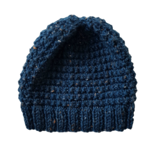 Hand Knitted Kids Beanie - Dark Blue Fleck
