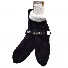 House or Slipper Socks Fleecy Lined - Black, Australia