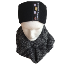 Merino Wool Black & White Cowl Scarf