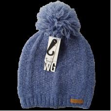 Combination Wool Blend Beanie - Denim Blue