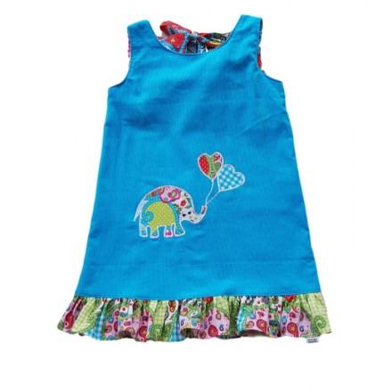 Girls Aqua Pincord Pinafore - Size 4