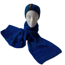Pure Merino Wool Long Scarf - Blues