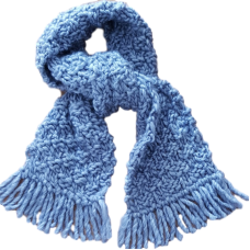 Hand knitted Scarf - Dusky Blue