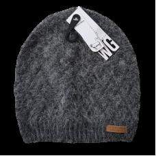 Combination Wool Blend Beanie - Grey Fluffy
