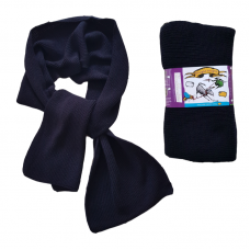 Pure Merino Wool Long Scarf - Dark Navy Blue