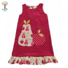 Girls Hot Pink Pincord Pinafore - Size 6