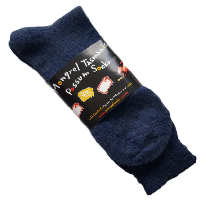 Navy Possum & Merino Wool Dress Socks