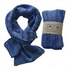 Pure Merino Wool Long Blue & White Scarf