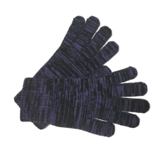 Purple and Black Pure Merino Wool Gloves