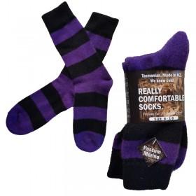 Black & Purple Wool - Possum Blend Stripe Socks