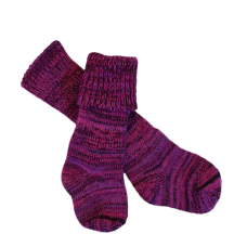 Kids Pure Wool Knit Socks - Purples