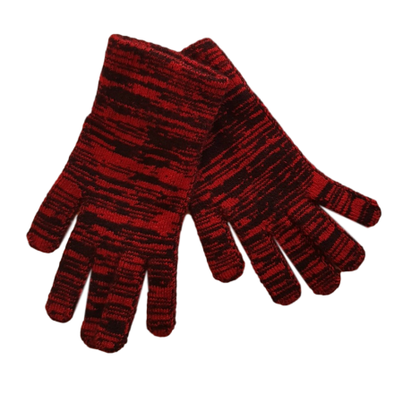Pure Wool Black & Red Gloves