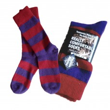 Possum Fur & Merino Wool Socks - Purple & Red Stripe