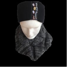 Merino Wool Black & White Cowl Scarf - Extra Wide