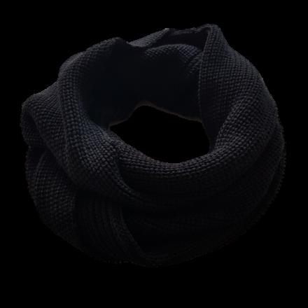 Merino Wool Black Cowl Scarf - Extra Long