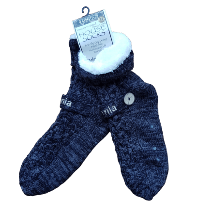 House or Slipper Socks, Fleecy Lined - Black & Grey Fleck, Tasmania