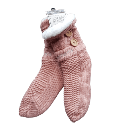 House or Slipper Socks Fleecy Lined - Dusky Pink, Tasmania