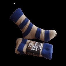 Possum Fur & Merino Wool Socks - Oatmeal & Navy Stripe