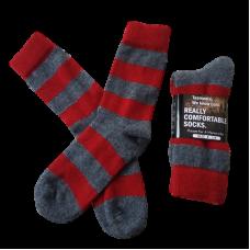 Possum Fur & Merino Wool Socks  - Red & Grey Stripe