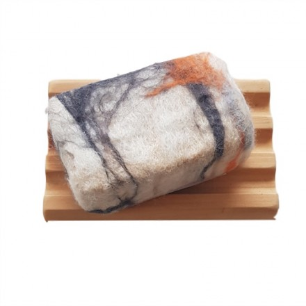 Hand Felted Soap & Huon Pine Soap Holder - Grey & Orange