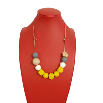 Necklace with Yellow Silicon & Wood Beads